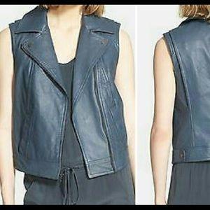 Vince grayish blue textured leather moto vest